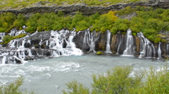 Iceland Hraunfossar Lava Falls in Reykholt Valley in West Iceland many falls Stock Footage