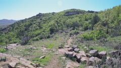 Distant Man On Hiking Trail- Wichita Mountains Nature Reserve- Lawton OK Stock Footage