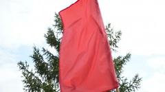 Simple red Soviet communist flag Stock Footage