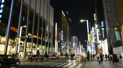 Tokyo Japan local crowds Ginza shopping area walking street at weekend with no Stock Footage