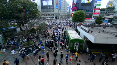 Tokyo Japan crowds rush moving walking in the busy Shibuya Station area of Stock Footage