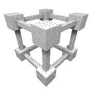 Wireframe Mesh Dotwork Vector Cube - stock illustration