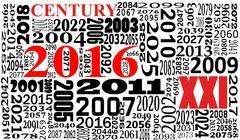 illustration of xxi century, 2016 in red - stock illustration