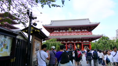 Tokyo Japan Sensoji Temple with crowds at Tokyo's oldest temple - stock footage