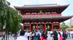 Tokyo Japan Sensoji Temple with crowds at Tokyo's oldest temple and important Stock Footage