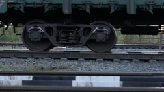 Stock Video Footage of Closeup wheelset freight train