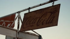 Eldorado Canyon mine tours. Sign Coca Cola . Old retro car Stock Footage
