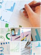 many business concept images sorted in collage - stock photo