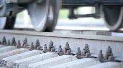 Closeup wheelset freight train Stock Footage