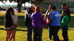 Prayer rally at Louisiana high school - stock footage