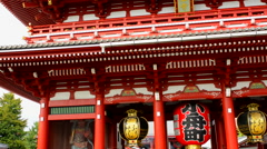 Tokyo Japan Sensoji Temple with crowds at Tokyo's oldest temple and important - stock footage