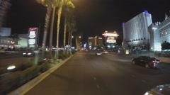 POV Driving Las Vegas Blvd From Excalibur To Luxor Casinos- Night Arkistovideo