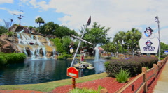 Panama City Beach Florida attraction called Pirates Island minature golf for Stock Footage