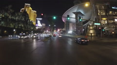 POV Driving Las Vegas Boulevard From Desert Inn Road- Night Stock Footage