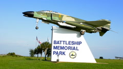 Stock Video Footage of Mobile Alabama Battleship Memorial Park fighter jet entrance museum memoial