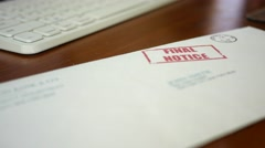 Man looking at final notice foreclosure letter from bank - stock footage
