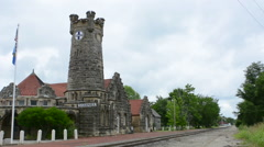Shawnee Oklahoma OK old historic Train Depot called Santa Fe Depot Museum stone Stock Footage