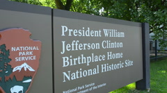 Hope Arkansas boyhood home of President Bill Clinton sign to commemorate his Stock Footage