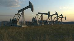 Oil wells - oil pumps on sky background Stock Illustration