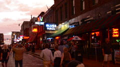 Memphis Tennessee famous Beale Street with tourists and music bars everywhere Stock Footage