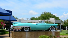 Memphis Tennessee blue Cadillac of Elvis Presley at Graceland for tourists to - stock footage