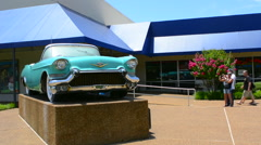 Memphis Tennessee blue Cadillac of Elvis Presley at Graceland for tourists to Stock Footage