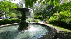 Charleston South Carolina Chapel Street fountain park in quiet area of Chapel Stock Footage