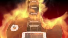 Gibson LesPaul Guitar on Fire Closer Look Stock Footage