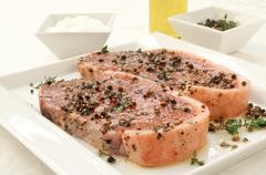 uncooked sirloin steak - stock photo