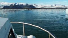 Jokulsarion, Iceland glacier lagoon POV boat ride Stock Footage