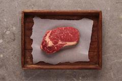 raw uncooked beef steak - stock photo