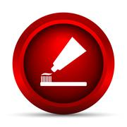 Stock Illustration of Tooth paste and brush icon. Internet button on white background..