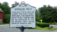 Jerusalem Mill Village Maryland old colonial town sign for 1772 tourist Stock Footage