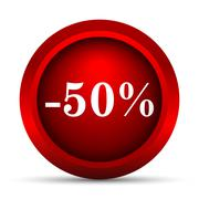 50 percent discount icon. Internet button on white background.. - stock illustration