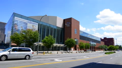 Rochester New York NY downtown city beautiful arena Blue Cross Arena for events - stock footage