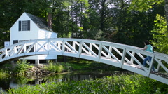 Stock Video Footage of Somesville Maine near Bar Harbor beautiful curved white bridge over pond outside