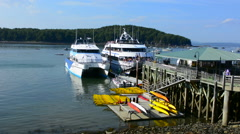 Bar Harbor Maine harbor with tourist whale watching boat on water with pier Stock Footage
