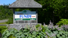Canada St Martins New Brunswick sign for the famous Fundy Trail tourists Stock Footage