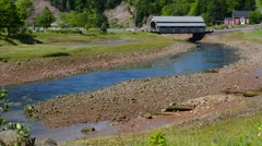 Canada St Martins New Brunswick small fishing village with covered bridge in Stock Footage