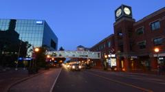 Canada Moncton New Brunswick night exposure of blurred traffic on Main Street Stock Footage