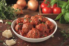 Italian meatballs with pasta - stock photo