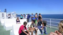Canada Nova Scotia ferry from Nova Scotis to Prince Edward Island with guitar - stock footage
