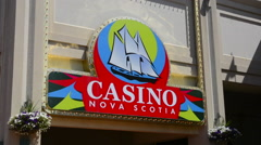 Canada Halifax Nova Scotia harbour with Casino at harbour for tourists Stock Footage