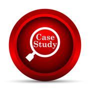 Case study icon. Internet button on white background.. - stock illustration