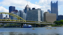 Pittsburgh Pennsylvania PA downtown skyline skyscrapers with famous Just Ducky Stock Footage