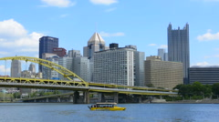 Pittsburgh Pennsylvania PA downtown skyline skyscrapers with famous Just Ducky - stock footage