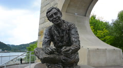 Pittsburgh Pennsylvania PA statue of Pittsburgher famous Fred Rogers memorial Stock Footage