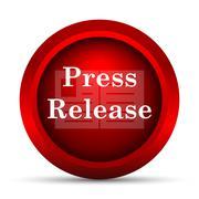 Stock Illustration of Press release icon. Internet button on white background..
