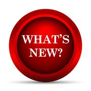 Whats new icon. Internet button on white background.. - stock illustration