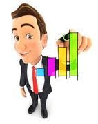 3d businessman hand drawn graph Stock Illustration